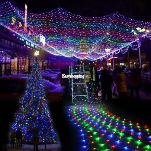 300LED Net Mesh Fairy Lights Lighting Christmas Xmas Wedding Party Colorful ES9P