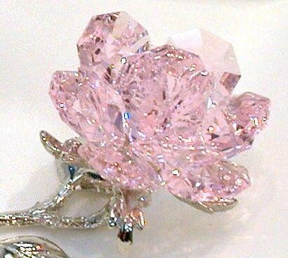 Pink Crystal Rose Handcrafted Using Swarovski Crystal - Pink Rose - Pink…