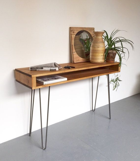 This is a classic hairpin leg console table which measures 85cm high (33.5), perfect as a sideboard or hallway table. It is handmade from high quality softwood, sanded to a beautifully smooth finish, then hand stained and treated with a hard wearing oil finish and wax in a range of available colours. It is available in a range of widths to suit your space. - Overall Dimensions: We make this in 4 standard widths, but we can do bespoke sizes as well, just get in touch.  Width: - X-Small: 80cm…