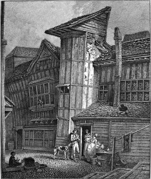 Old House in Sweedon's Passage, Grub St – Drawn July 1791, Taken Down March 1805