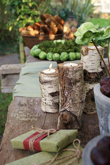 Elements of nature.Gardens Ideas, Wood Candle Holders, Brussels Sprouts, Candles Holders, Teas Lights, Rustic Tables, Outdoor Tables, Outdoor Eating, Crafts