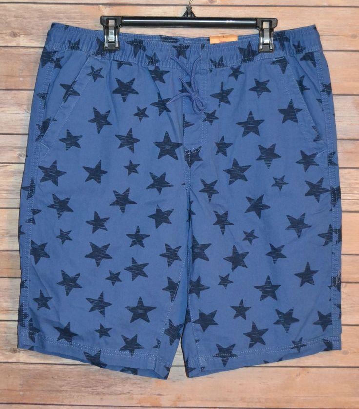 MENS CASUAL SHORTS SIZES: M, L ELASTIC WAISTBAND DRAWSTRING BLUE NAVY STARS SURF #UrbanPipeline #CasualShortsBoardShorts