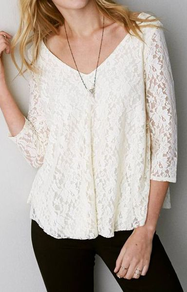 Natural AEO Lace Swing T-Shirt