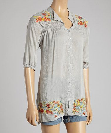 Love this Silver Shirred Floral Embroidered Button-Up Tunic by Como No? by Biz on #zulily! #zulilyfinds