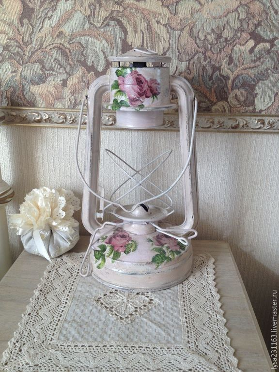 """Купить Лампа керосиновая """"Розы шебби"""" - лампа настольная, лампа керосиновая, освещение, шеби шик"""