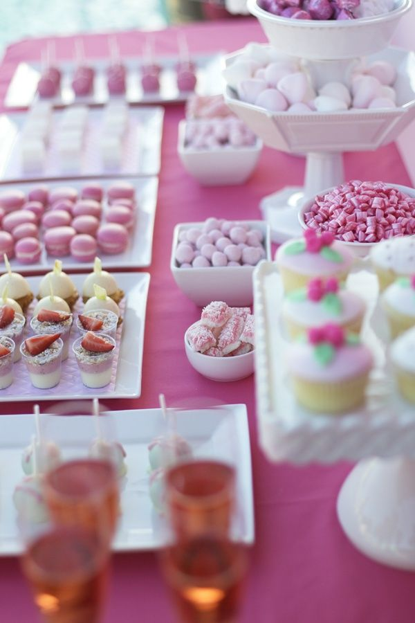 Vintage pink high tea dessert table