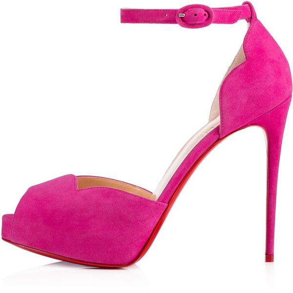 Christian Louboutin Aketata ($875) ❤ liked on Polyvore featuring shoes, sandals, suede leather shoes, rose shoes, high heel shoes, dressy sandals and d orsay sandals