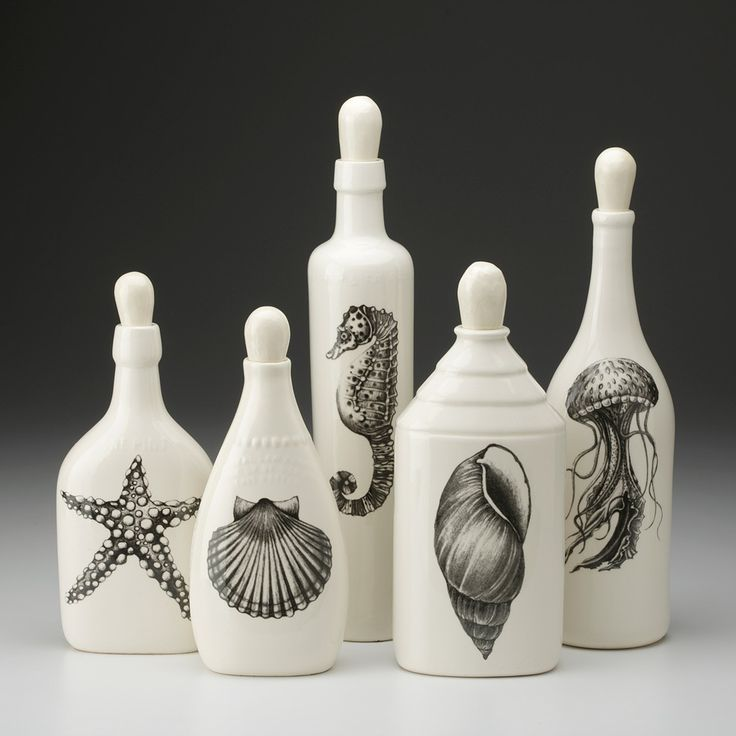 Laura Zindel Design - Set of 5 Bottles: Sealife, $250.00 (http://www.laurazindel.com/set-of-5-bottles-sealife/)