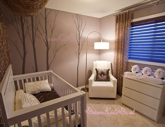 Wall decals,White trees decals, nature wall decals, vinyl wall decal, nature wall decal stickers, birch tree, nursery wall stickers-DK050 on Etsy, $70.00