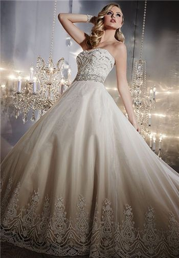 Strapless beaded ball gown with sweetheart neckline | 15539 from Christina Wu