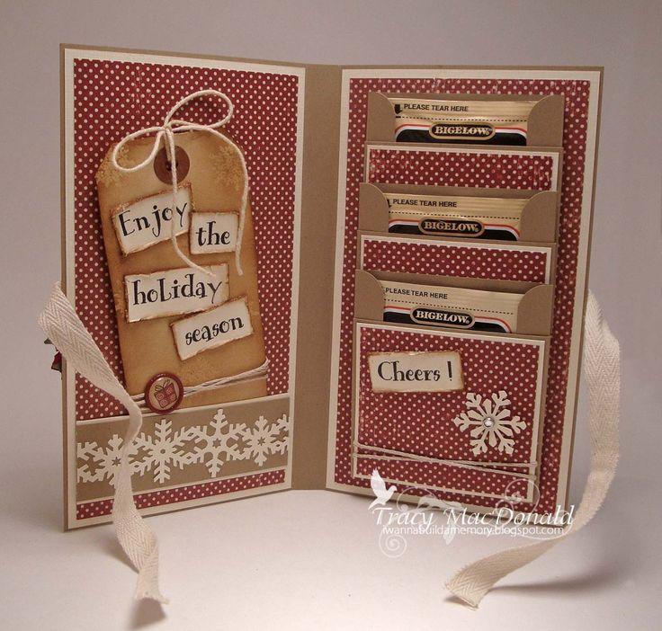 Tea Bag Holder Card Tutorial: Cards Ideas, Gifts Cards, Gifts Ideas, Holders Cards, Cards Holders, Teas Bags Holders, Christmas Ideas, Cards Tutorials, Card Tutorials