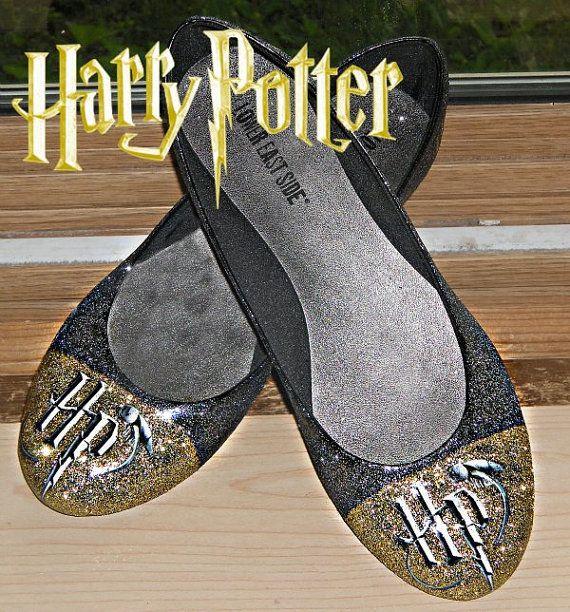 Harry Potter glitter flats shoes by NerdStyle on Etsy