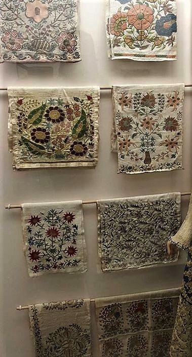 Embroidered fragments of female accessories (sash, hand-towel, kerchieves, etc.). From the Edirne region, 19th & 20th century. On exhibit in the Edirne Ethnographical Museum.