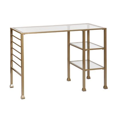 Gold Writing Desk from Wayfair This sleek, minimalist desk will give your home office a new angle plus effortless organization.