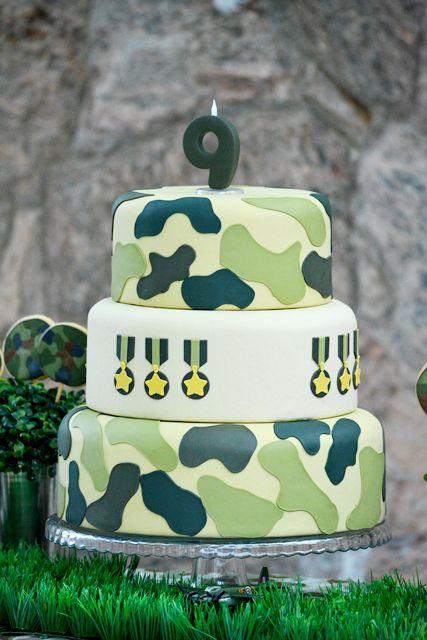 Resultado de imagem para ideia decoração bolo  festa militar