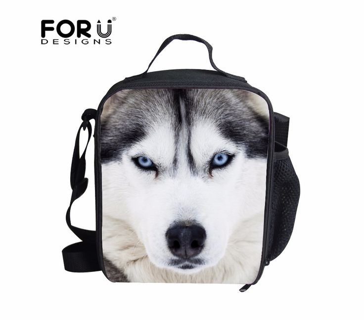Hot Zoo Animal Thermal Lunch Box Set Cool Husky Food Container Picnic Bags Insulated Lunch Bag for Kids bolsa merienda termica