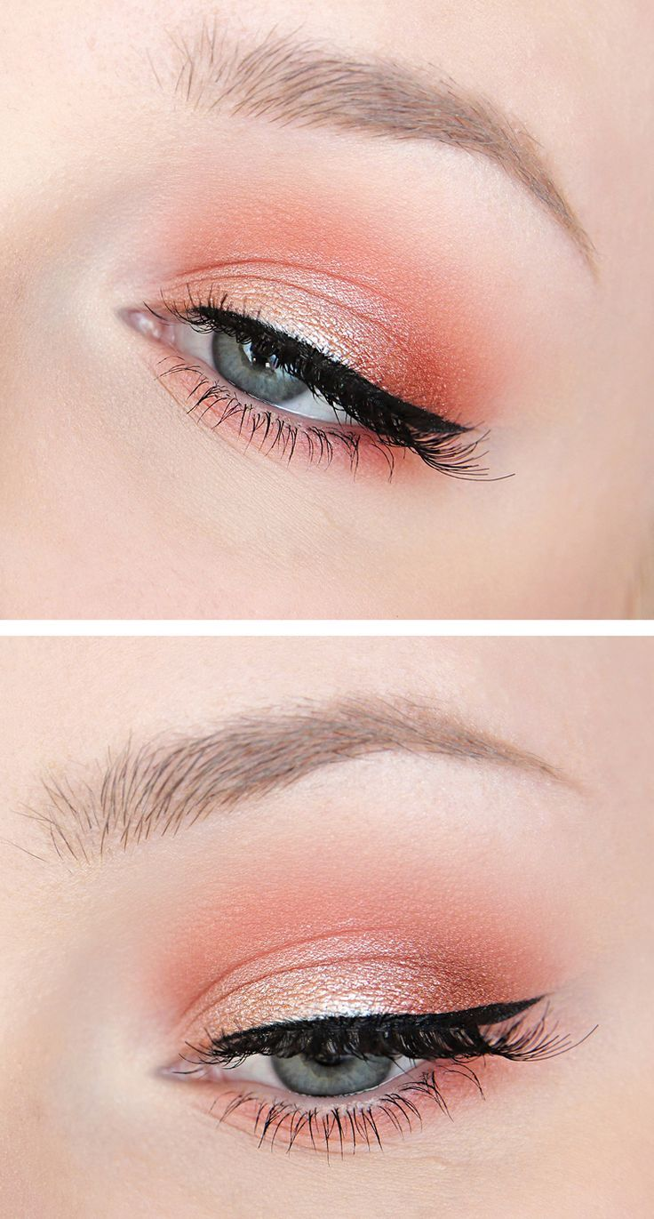 Coral / Peach / Orange shimmering eyeshadow. Recreate this look with Mary Kay Sunlight eye palette and Gel eyeliner