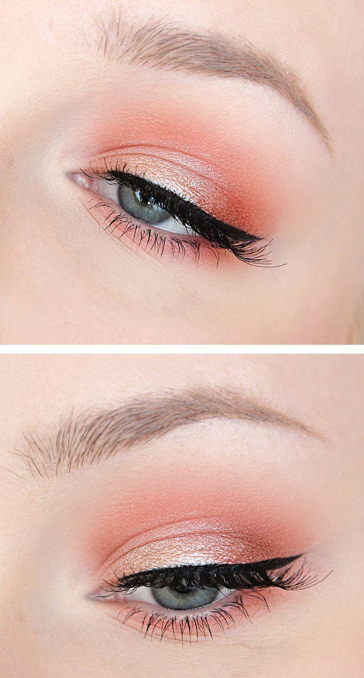 Coral / Peach / Orange shimmering eyeshadow. Recreate this look with Mary Kay Sunlight eye palette and Gel eyeliner