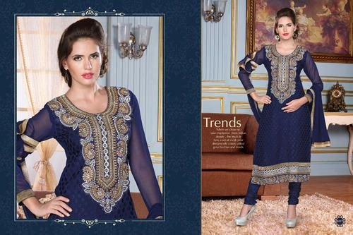 Ethnic Party Wear  Georgette Brasso Semi-Stitched straight cut Navy Blue Salwar suit with heavy thread embroidery. Comes with Santoon Inner And Bottom and Chiffon dupatta.
