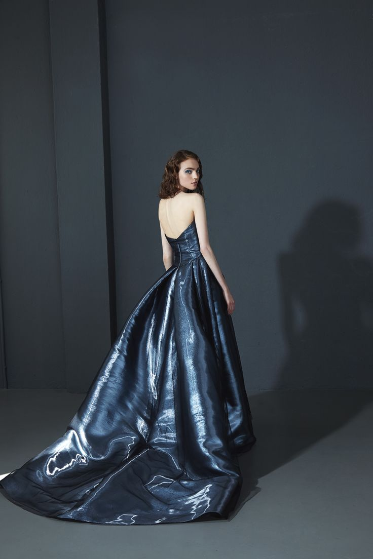 160027: Strapless ball gown with asymmetric draping on the bust