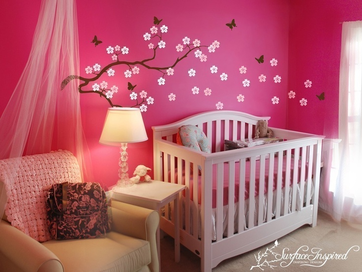 Love the bright happy color and the mural.: Babies, Girl Room, Babygirl, Wall Decal, Baby Girl, Nursery Ideas, Baby Room