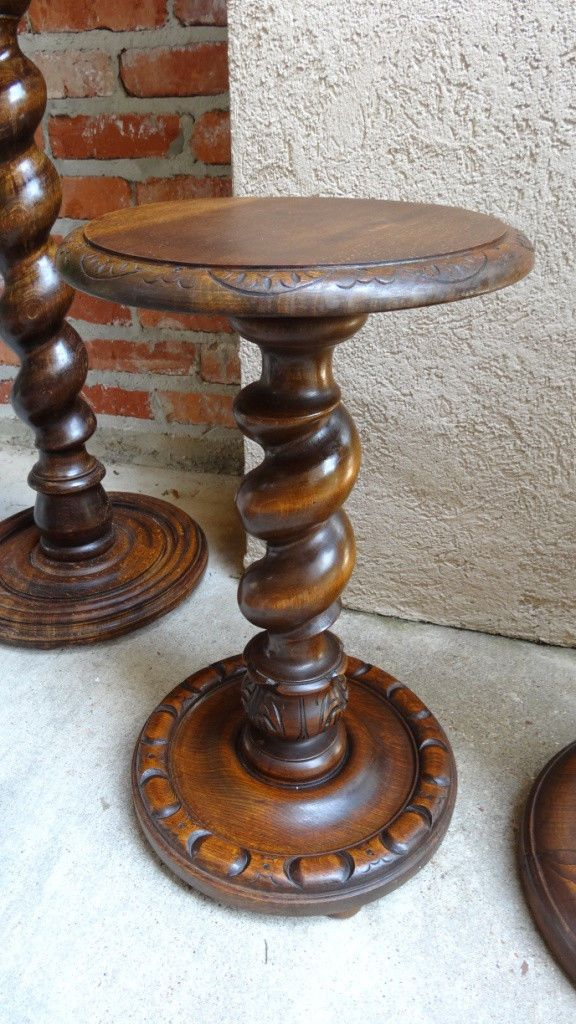 Antique French Oak Barley Twist Pedestal Table Display Plant Stand Carved | eBay