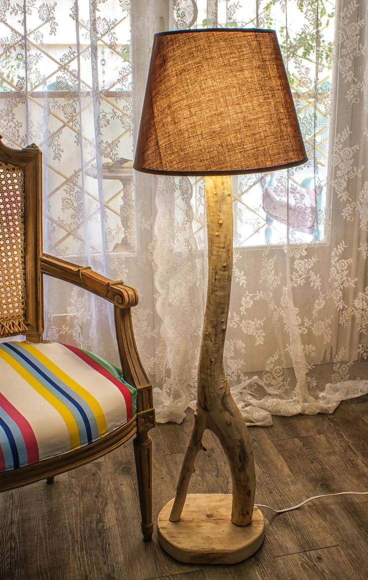 Eucalyptus Tree Lamp ,Rustic  Chic, Natural Sculpture, Floor Lamp, Natural Design, Driftwood Lamp, Handmade Lamp, Natural Wood Lamp. $200.00, via Etsy.