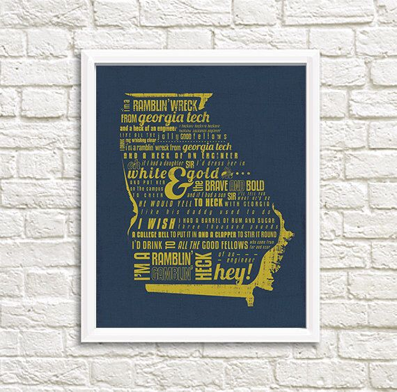 Georgia Tech Ramblin' Wreck Yellow Jackets Fight Song College Football 8x10 Printable Wall Decor by AveryWorkDesign on Etsy https://www.etsy.com/listing/291056977/georgia-tech-ramblin-wreck-yellow