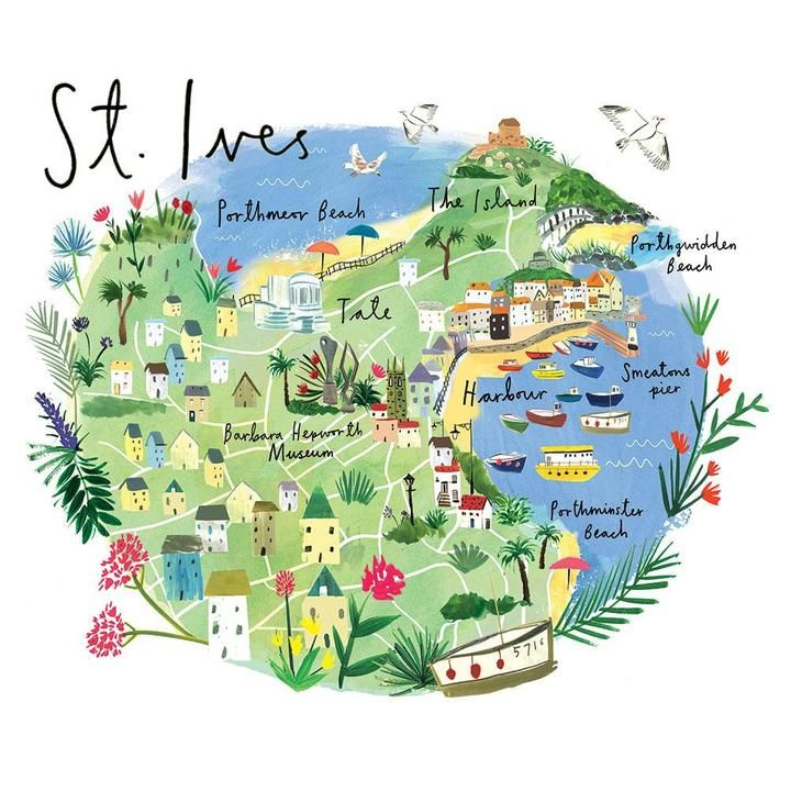 Map Of St Ives. Cornwall. Travel And Map Illustration