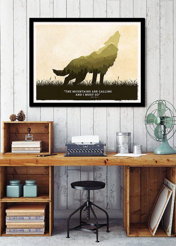Wolf art poster wolf art print Amerikaanse wolf door NationalParkArt