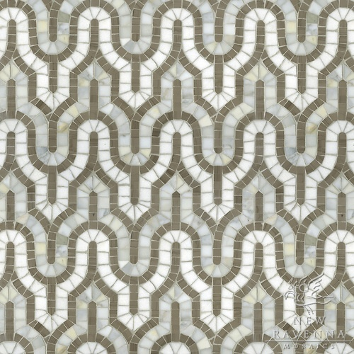 Kasbah mosaic in Driftwood, Calacatta Tia, Thassos
