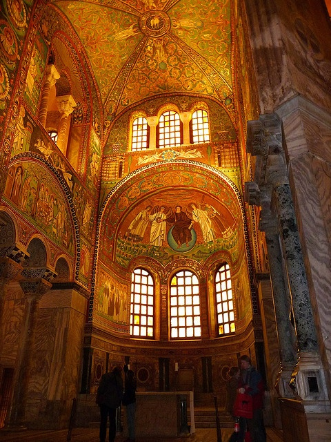 Byzantine mosaics in San Vitale Basilica, Ravenna, Italy.  I seriously need to find a way to see these!(km)
