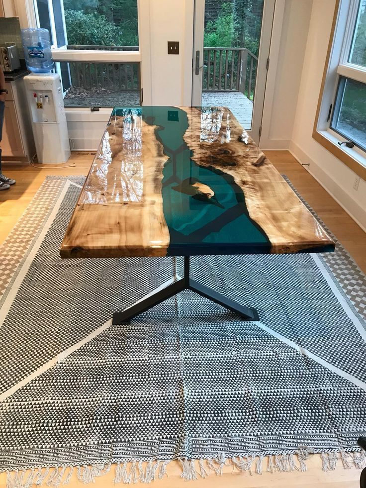 Turquoise Resin River Dining Table In 2020 Resin Table Wood Resin Table Wood Table Design