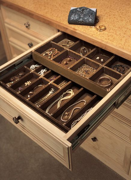felt lined jewelry drawers. You can buy these trays for existing drawers.