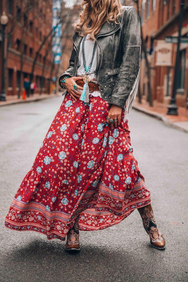 Bohemian style maxi skirt vintage look