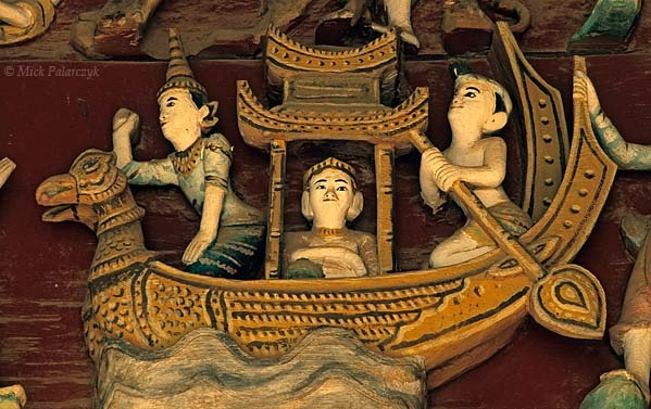 'Bird headed barge.'    At Nyaung U, north of Bagan, a woodcarving in the Yukeson Hall of the Shwezigon Pagoda shows the mythological karaweik or Burmese crane on the bow of a barge. Photo Mick Palarczyk.