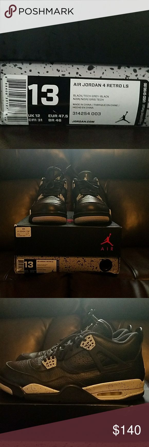 "AIR JORDAN 4 RETRO LS ""OREO"" Authentic size 13 Oreo retro 4 in awesome condition. All of my shoes are authentic. Hard to find in this size at this price and condition. I'm not looking for trades. Jordan Shoes Sneakers"