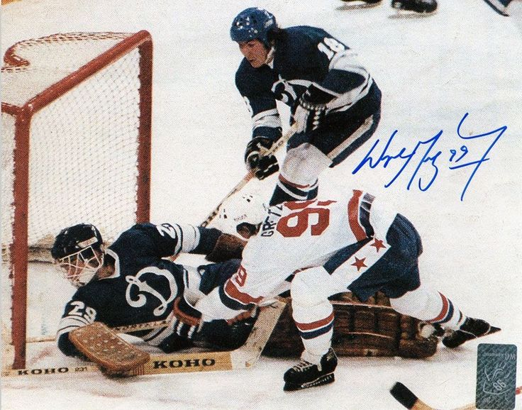 Wayne Gretzky and the WHA All-Stars vs. the Moscow Dynamo.