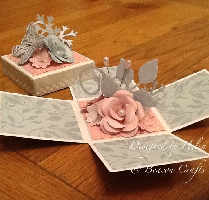 Exploding box card. With hand made paper flowers.