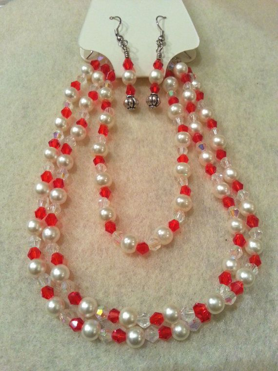 Elegant Set  Red Swarovski Crystal and by FrantasticCreationz, $20.00