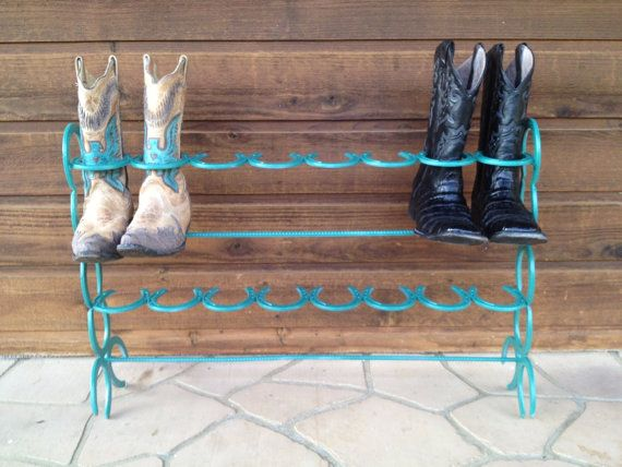 Item Name: Teal Cowboy Boot Rack (8 Pair) Made From Horseshoes  Specifications: This listing is for a teal colored horseshoe boot rack to