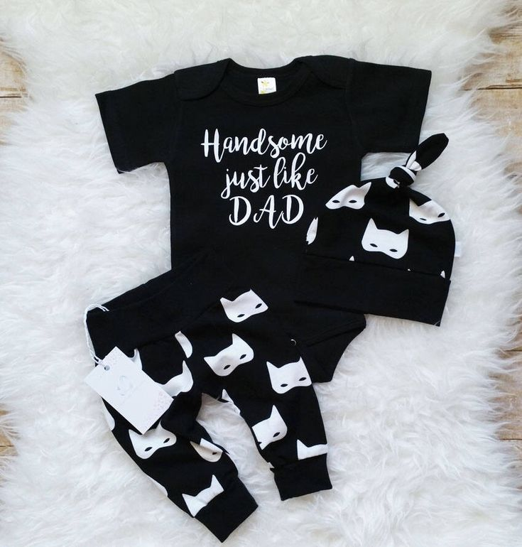 Coming Home Baby Boy Outfit Newborn Boy Clothes Handsome just like Dad Baby Boy Leggings Hat Personalized Outfit Black White Outfit by LLPreciousCreations on Etsy https://www.etsy.com/listing/560738712/coming-home-baby-boy-outfit-newborn-boy