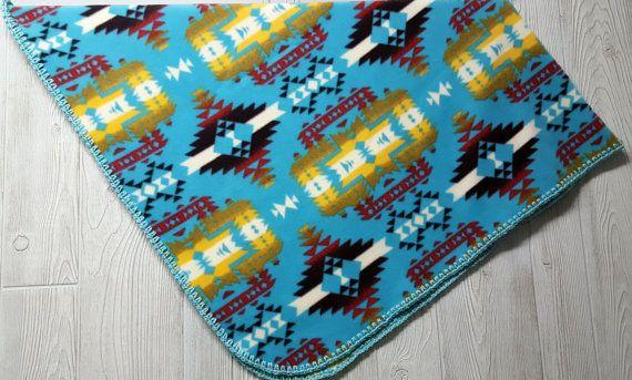 Fleece Baby Blanket Southwestern baby bedding Tribal
