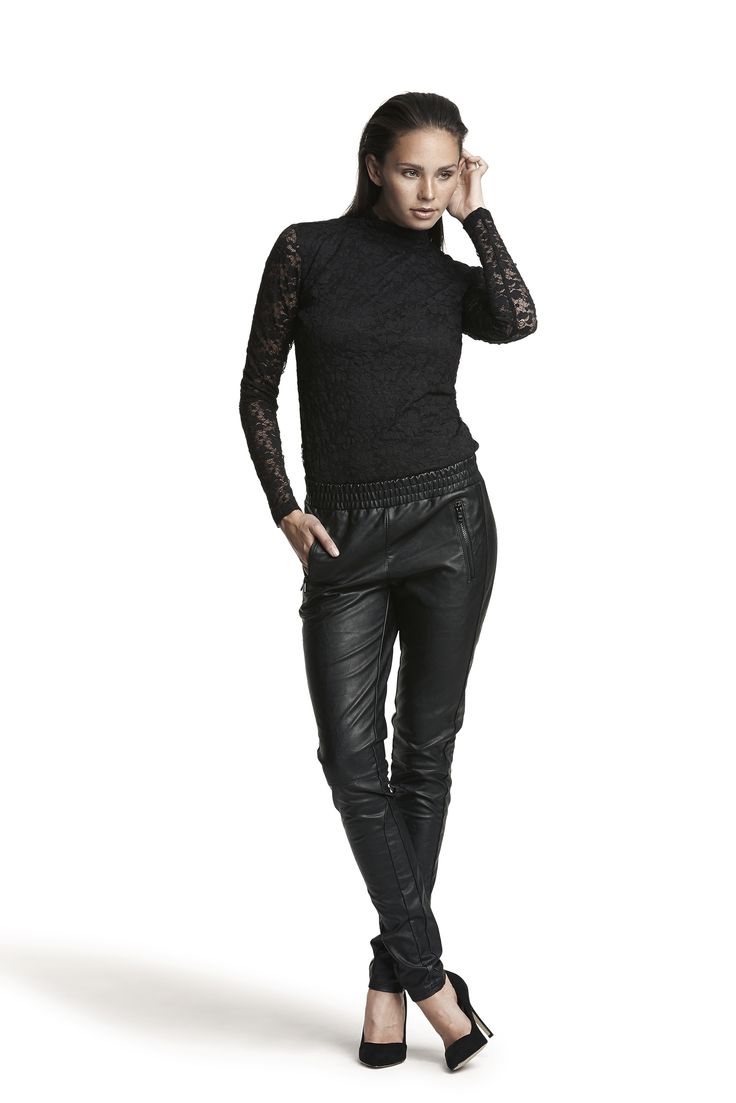 Gabriella lace top and Guava pant #black #fashion #lace #leatherlook #AW15