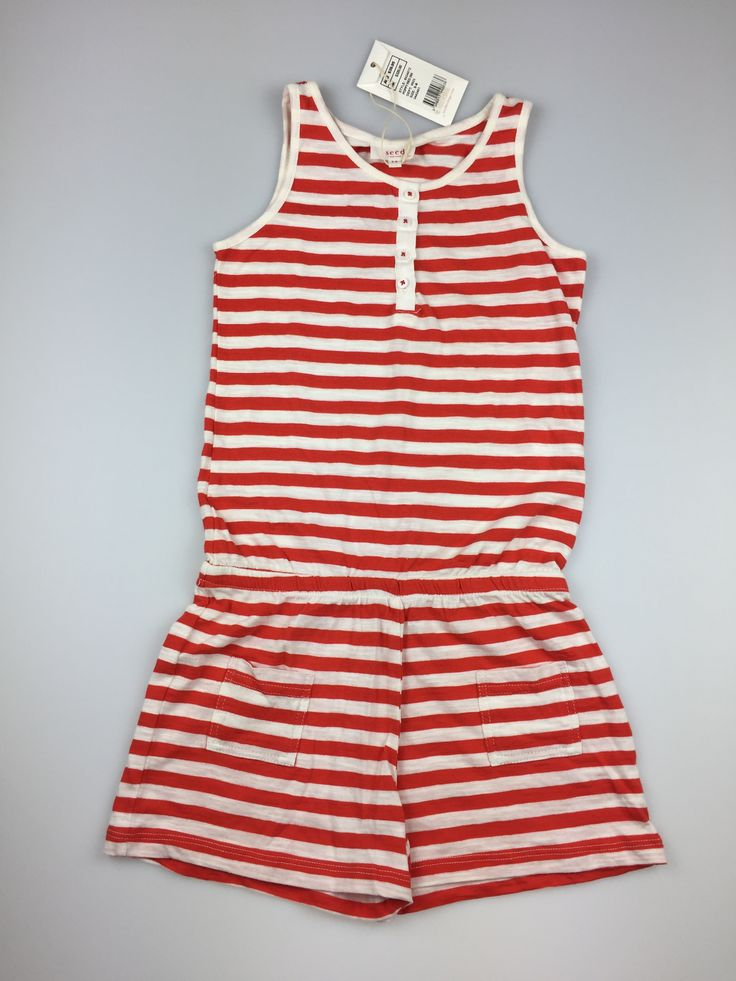 SEED HERITAGE, girl's red and white striped cotton jumpsuit. Perfect for summer. Wear it to the beach, to a relaxed Christmas party, or just to hang out at home. Brand new with tags (BNWT), size 5-6. $19 (RRP $39.95) #playsuit #jumpsuit #kidsfashion #SeedHeritage