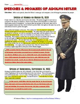 Great worksheet to analyze Adolf Hitler's Speeches and incorporate CCSS into your World War II lesson!