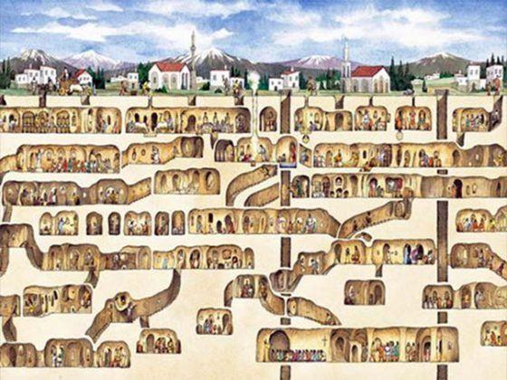 Предположите, что Вы спускаетесь в свой подвал и находите там дверь в другой город. Так было в Турции в 1963 году. Один из жителей страны просто решил отремонтировать свой дом, когда нашел в подвале нечто удивительное, это был другой город. Рабочие, разрушив стену, поняли, что вошли в город Деринкюн. Деринкюн был подземным городом, который имел 8 уровней. На высших уровнях были жилые комплексы, а на нижних уровнях были больницы, монастыри. В городе существовала сложная система вентиляции…