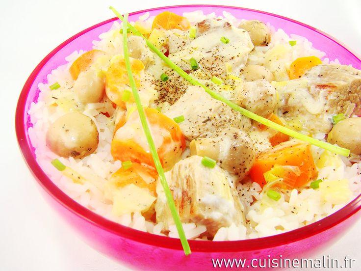 Blanquette de veau par Cuisine Malin  Veal stew express....  http://www.cuisinemalin.fr/blanquette-de-veau