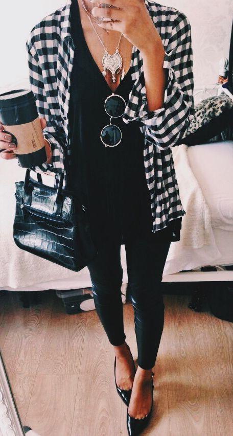 #fashion #fall / todo camisa a cuadros negro +