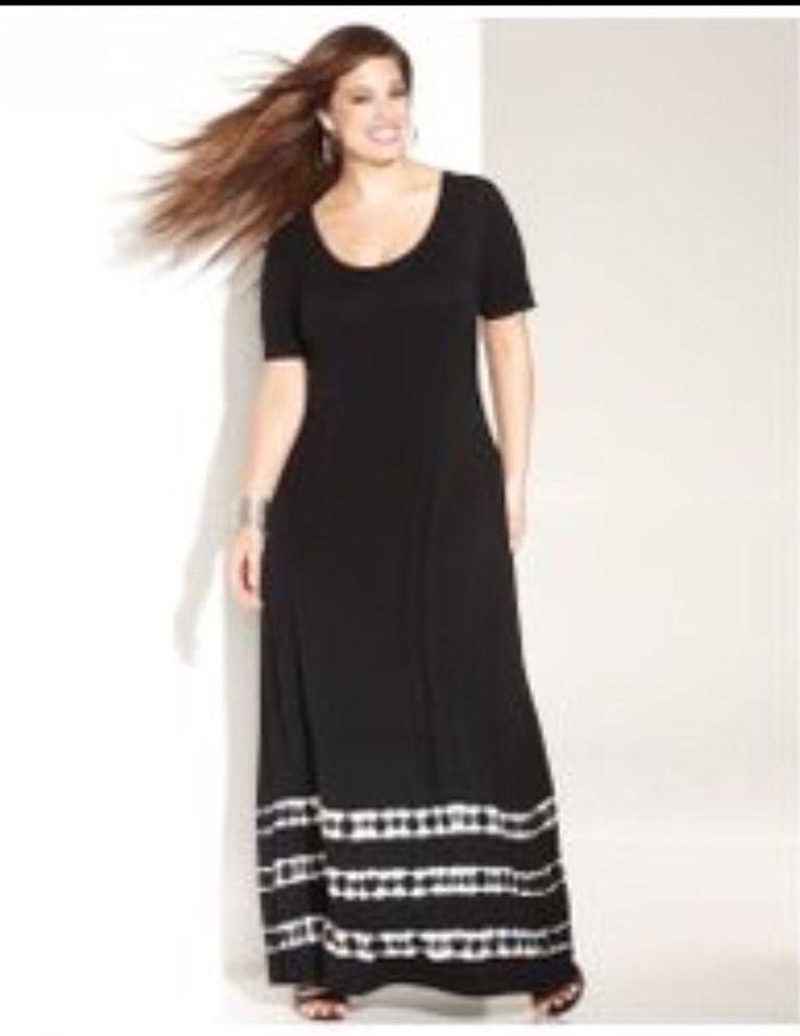 NWT International Concepts Plus Size 1x Black Slinky Maxi Dress Mellow Stripe #INCInternationalConcepts #Maxi